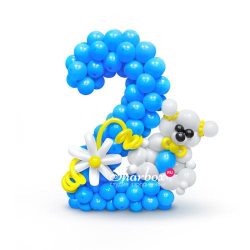 Цифра 2 из круглых шариков с мишкой
