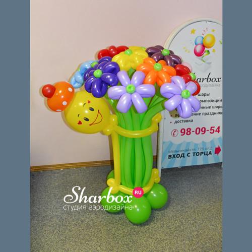 Цветы из шаров Смайл с букетом №3