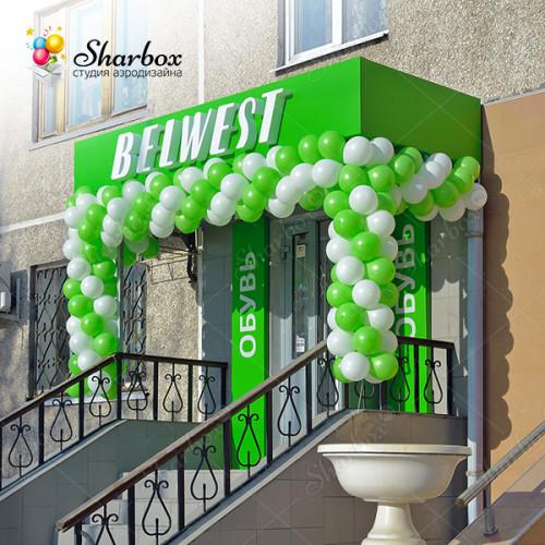Оформление шарами магазина обуви Belwest