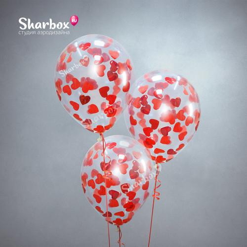 Воздушные шары с конфетти Красные сердца