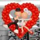 Красное сердце с парочкой из шаров