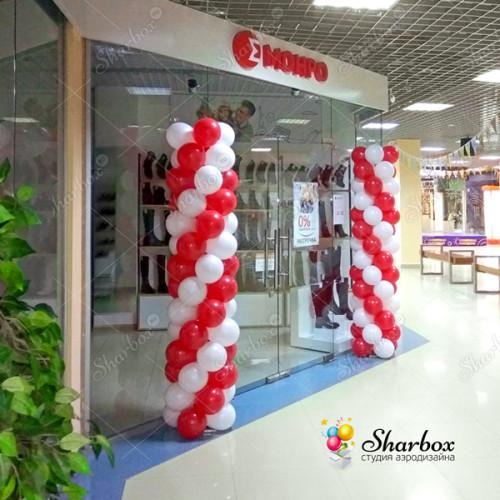 Оформление шарами магазина обуви МОНРО