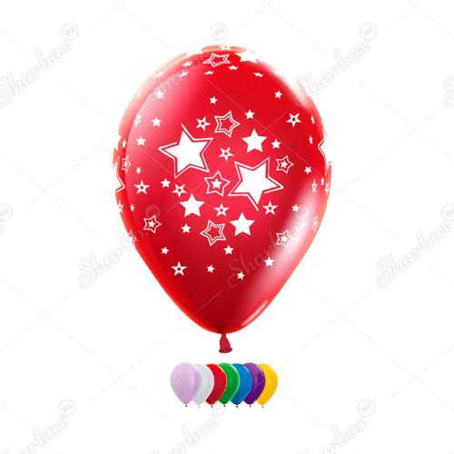 Воздушные шары с рисунком Звезды, металлик