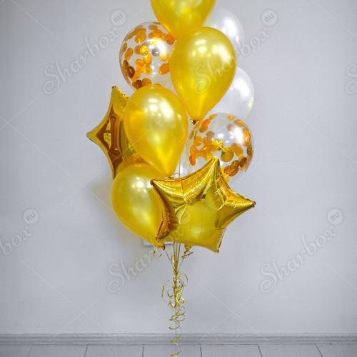 Фонтан из воздушных шаров Золотой