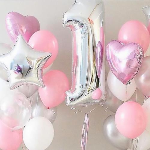 Набор шаров с цифрой в розово-белой гамме