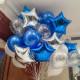 Набор шаров и звезд в сине-серебряной гамме