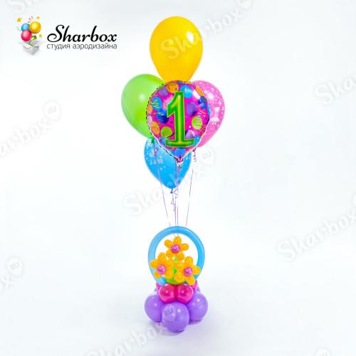 Композиция из воздушных шаров Корзинка пример