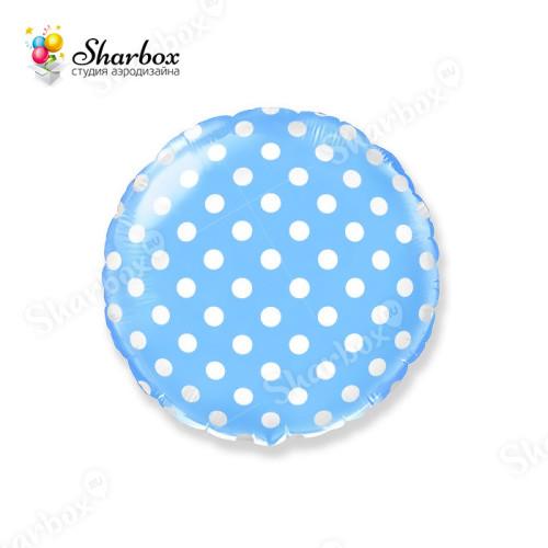 Шар круг Горох Голубой с гелием