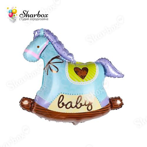 Воздушный шар Лошадка качалка голубая с гелием
