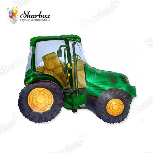 Воздушный шар Трактор зеленый с гелием
