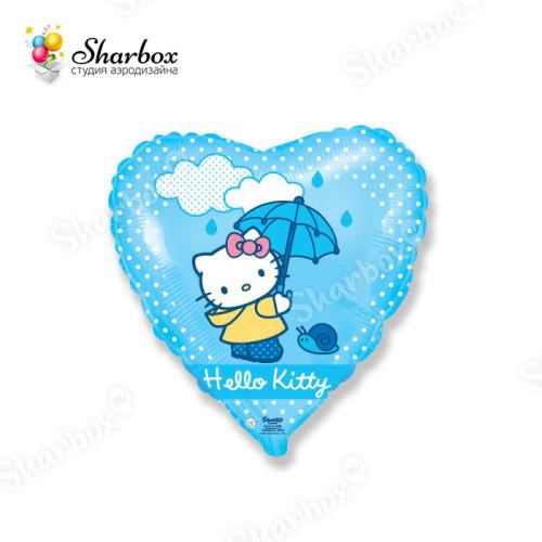 Воздушный шар сердце Хелло Китти с зонтиком с гелием