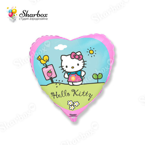 Воздушный шар сердце Хелло Китти в саду