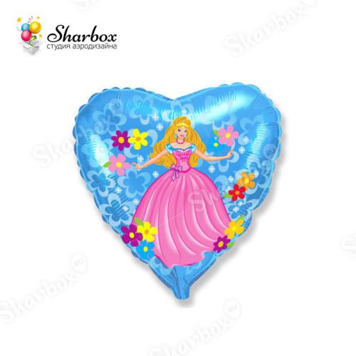 Воздушный шар сердце Принцесса с гелием