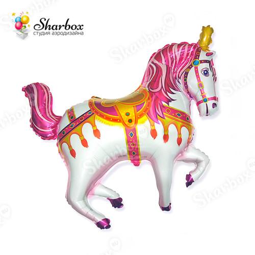 Воздушный шар Лошадка розовая с гелием