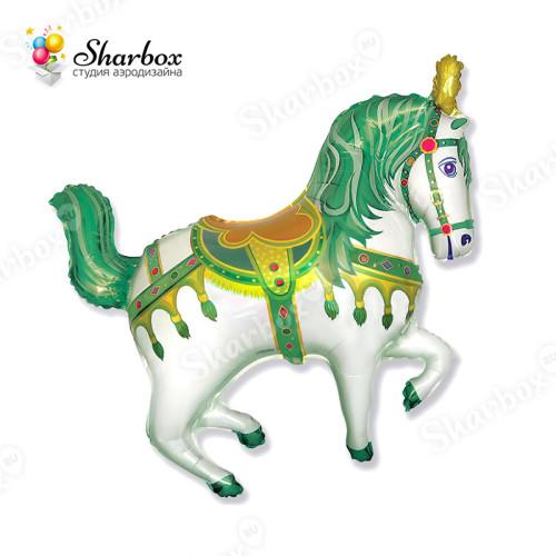Воздушный шар Лошадка зеленая с гелием