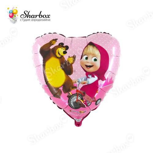 Воздушный шар Маша и Медведь сердце купить