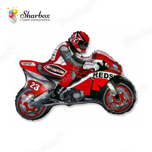 Воздушный шар Мотоцикл красный с гелием