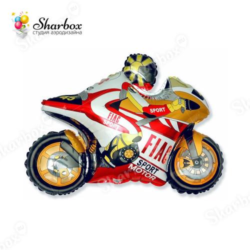 Воздушный шар Мотоцикл оранжевый с гелием