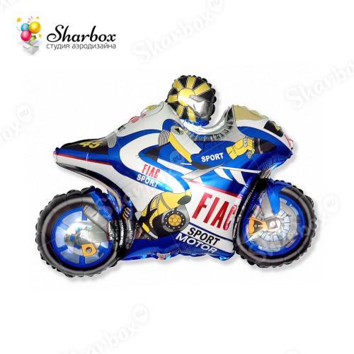 Воздушный шар Мотоцикл синий с гелием