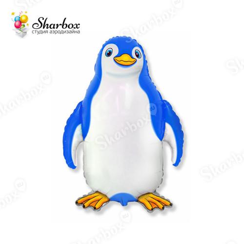 Воздушный шар Пингвин голубой с гелием