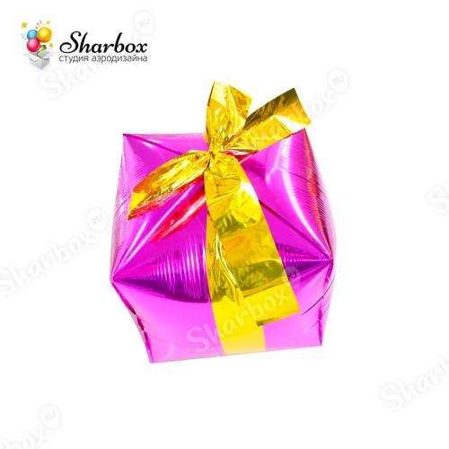 Воздушный шар Подарок с бантиком, Фуксия с гелием