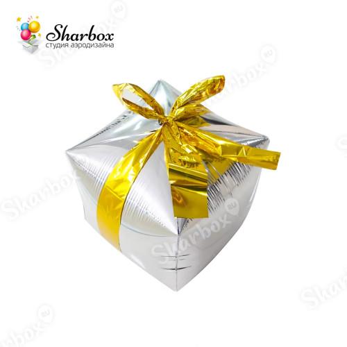 Воздушный шар Подарок с бантиком Серебро с гелием