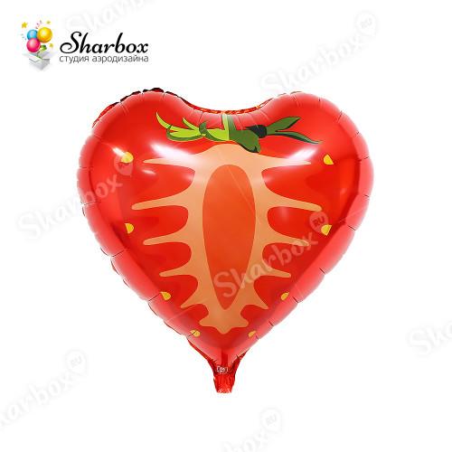 Воздушный шар Клубника сердце с гелием