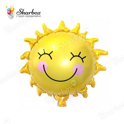 Воздушный шар Солнышко улыбка с гелием