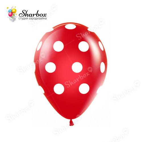 Красные воздушные шары Горох белый в Тюмени