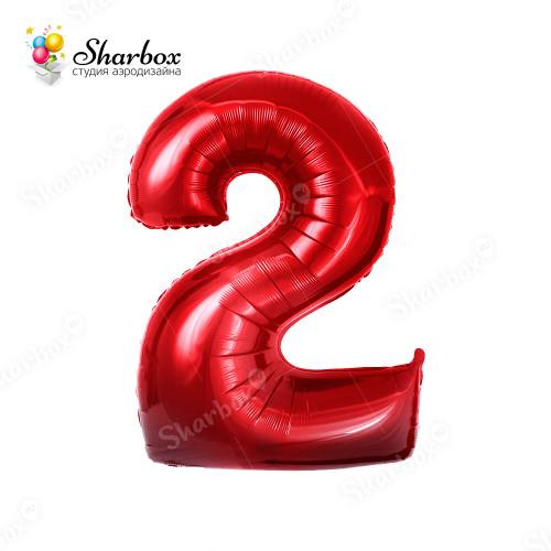 Гелиевый Шар цифра 2 красная