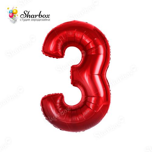 Гелиевый Шар цифра 3 красная