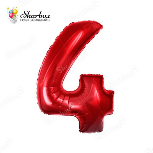 Гелиевый Шар цифра 4 красная