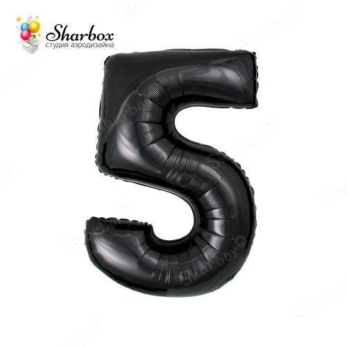 Гелиевый Шар цифра 5 черная