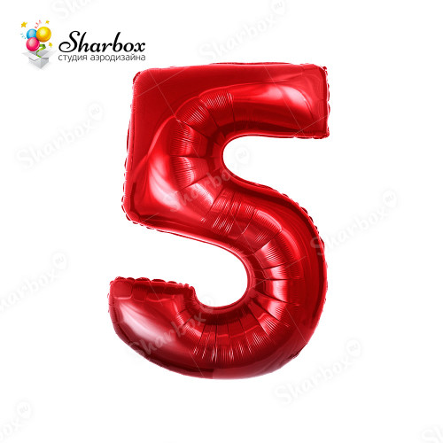 Гелиевый Шар цифра 5 красная