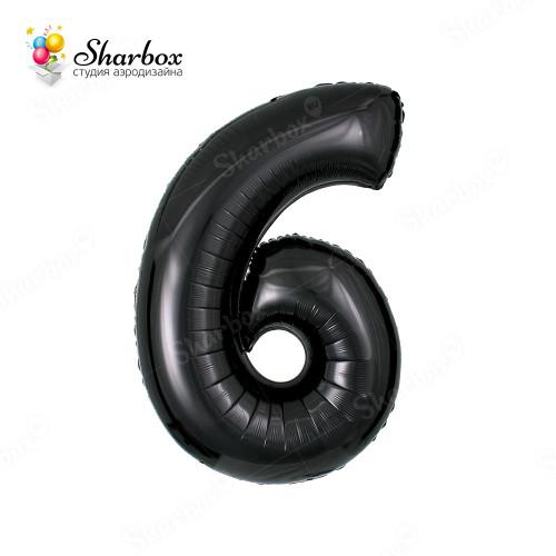 Гелиевый Шар цифра 6 черная