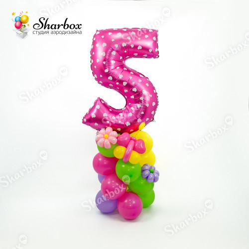 Фигура из шаров Стойка с цифрой и декором