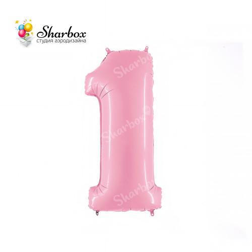 Шар-цифра 1 розовая матовая с гелием