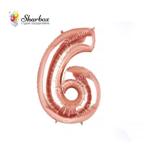 Шар-цифра 6 розовое золото с гелием