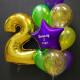 Фиолетово-золотой набор для мальчика гелиевых шаров