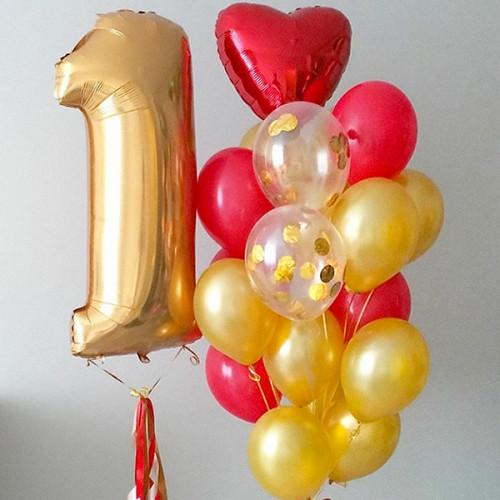 Набор шаров Красно-золотой сет №1