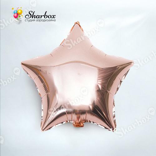 Шар Звезда розовое золото с гелием