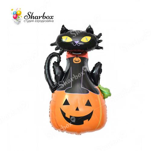 Шар фигура Кот на тыкве на Хэллоуин