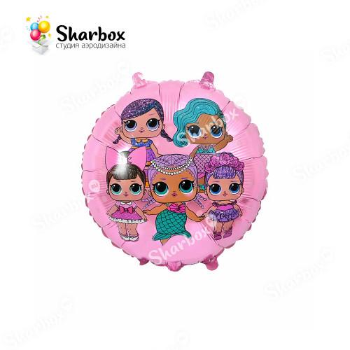 Гелиевый Шар круг Модные куклы розовый
