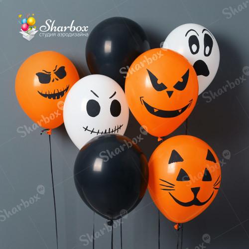 Шары на Хэллоуин с наклейками и гелием