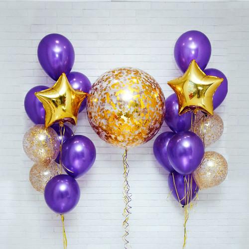 Фиолетово-золотой набор шаров Тюмень