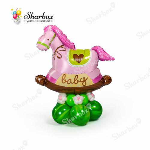 Лошадка качалка розовая