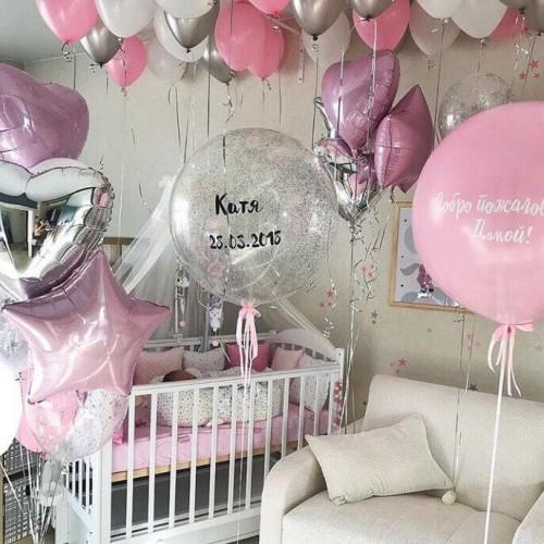 Оформление шариками комнаты малыша сет №03