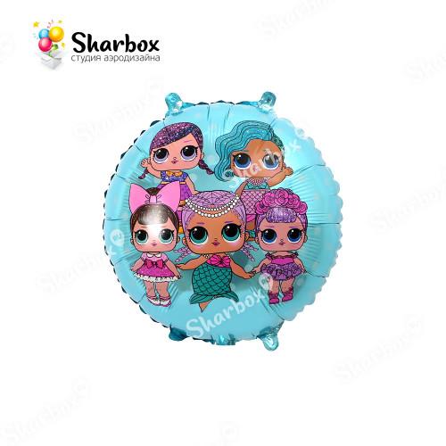 Гелиевый Шар круг Модные куклы голубой