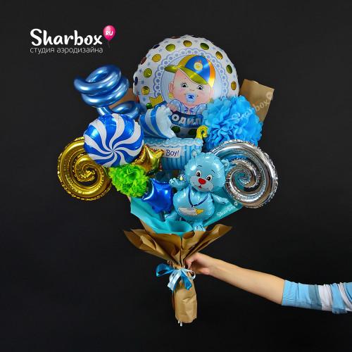 Крафтовый букет на рождение из шаров