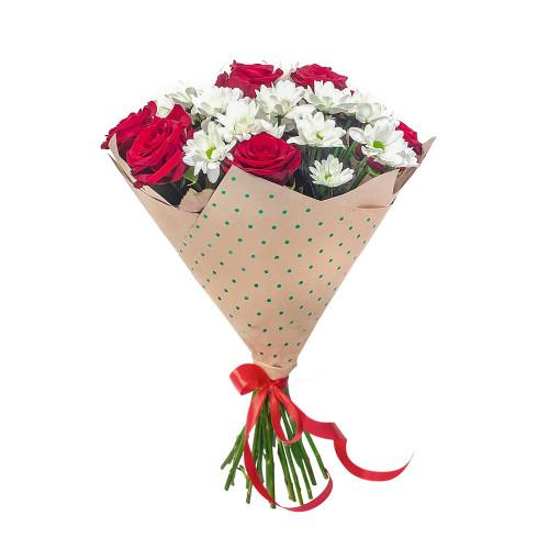 Букет Анжелика с красными розами